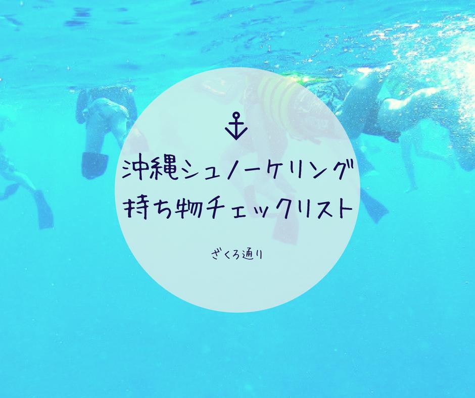 沖縄・離島でのシュノーケリング体験に必要なものチェックリスト